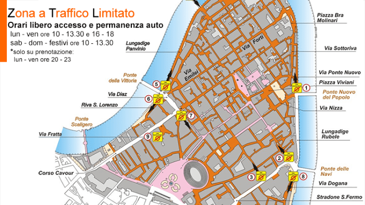 Getting around Verona - ZTL map