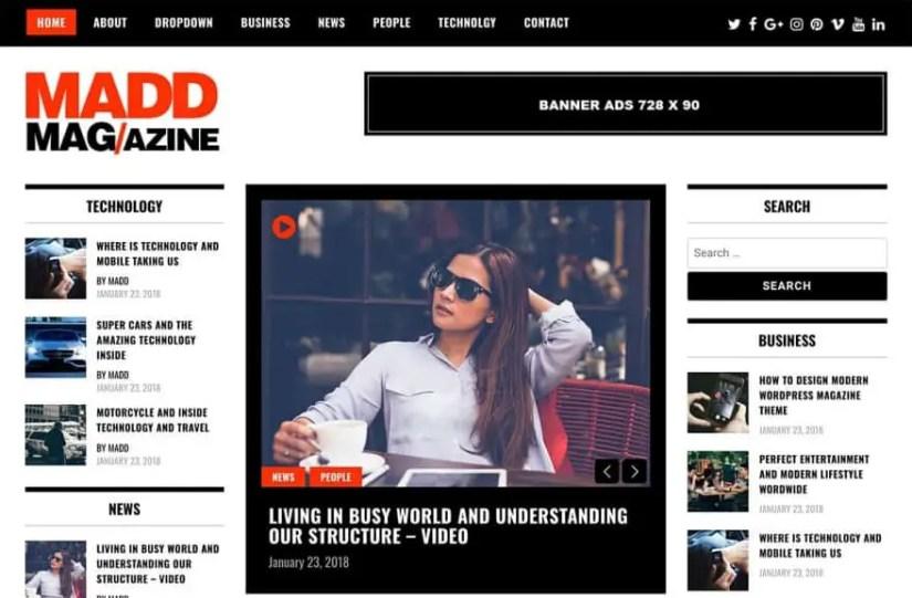 Madd Magazine Free WordPress Theme