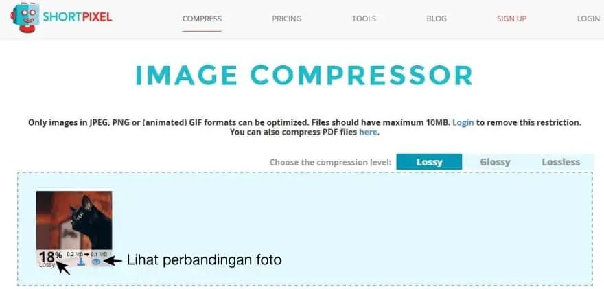 Kompres Foto Online dengan ShortPixel