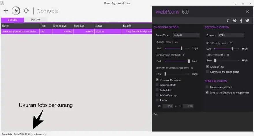 Mengubah Foto ke WEBP dengan WebPconv