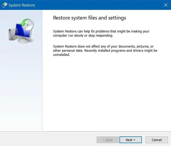 Klik Next untuk Mengembalikan System Restore Point 1