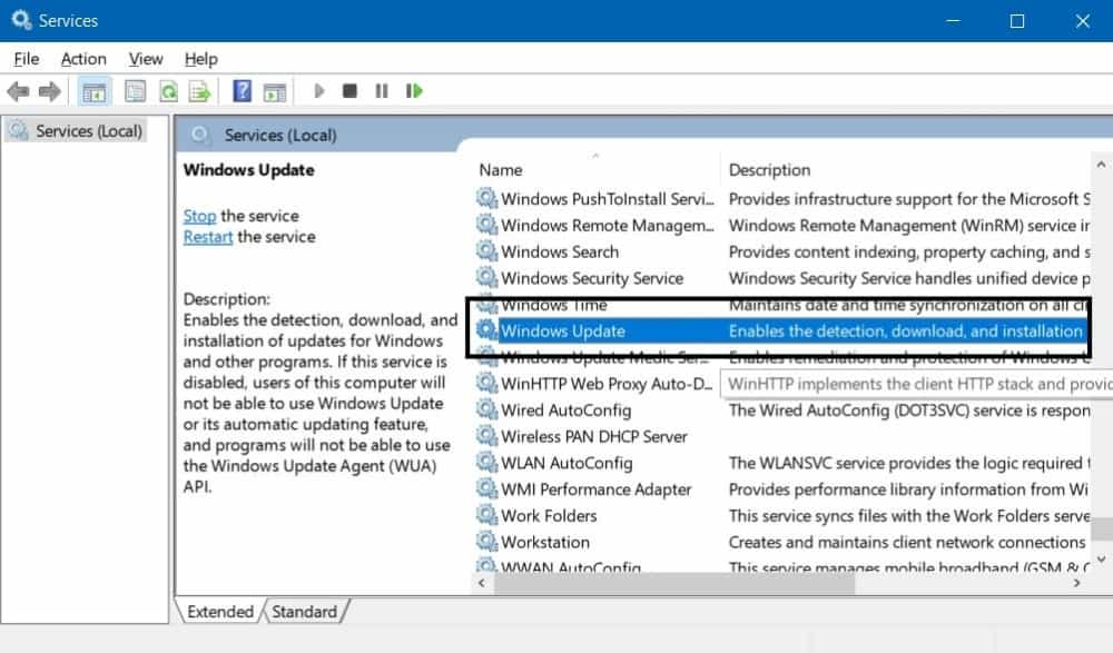 Pengaturan Windows Update di Services Windows 10