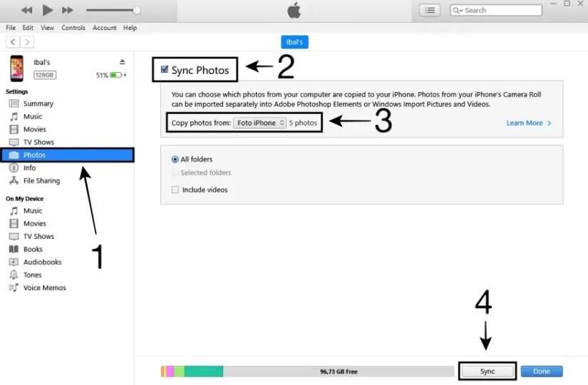 Sinkronisasi Foto dari Laptop ke iPhone