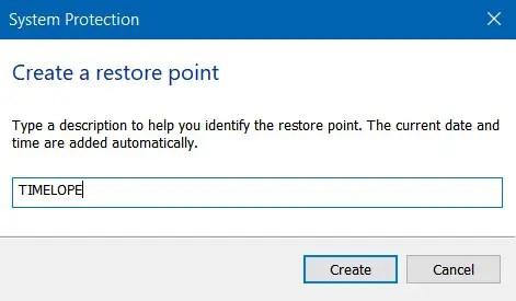 Tulis Nama Restore Point 1