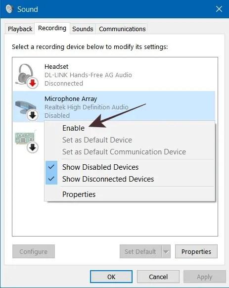 Sound Control Panel pada Windows 10 Untuk Aktifkan Microphone