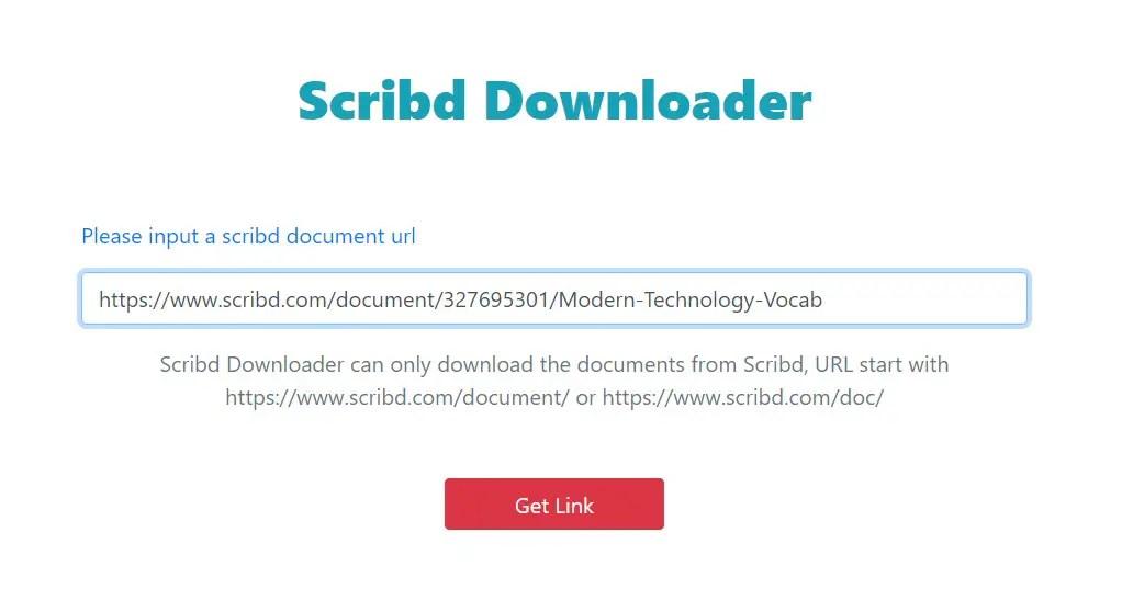 Isi URL dari dokumen yang ingin di download dari Scribd