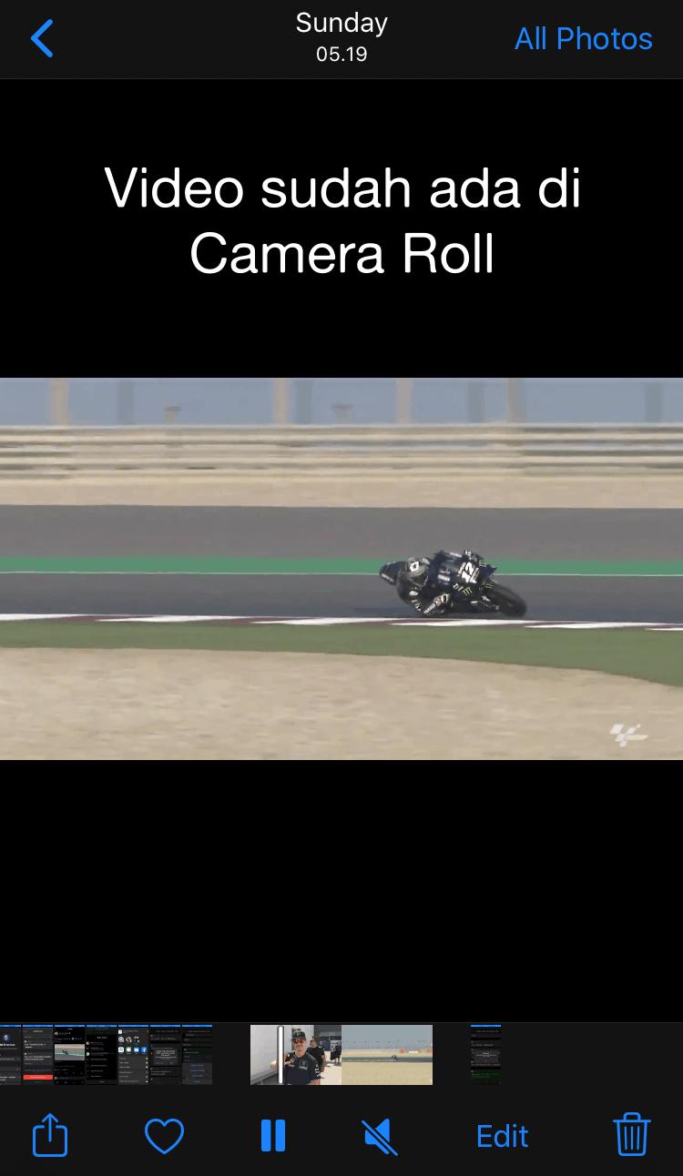 Video Sudah Ada di Camera Roll atau Photos