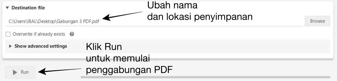 Pilih Run untuk Memulai Penggabungan PDF