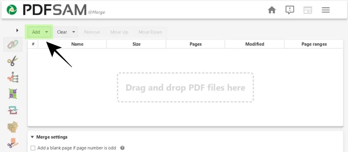 Tambahkan File PDF ke PDFsam