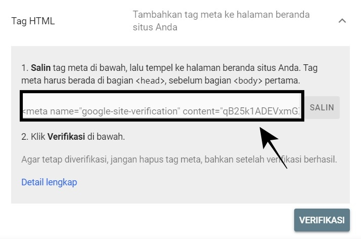 Verifikasi domain ke Google Search Console