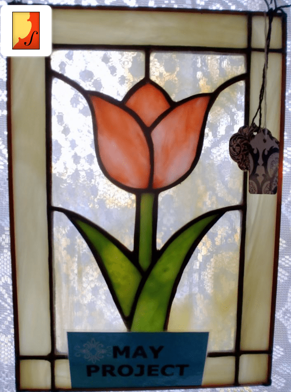 Ozark Folk School - Stained Glass May Flower Panel 1