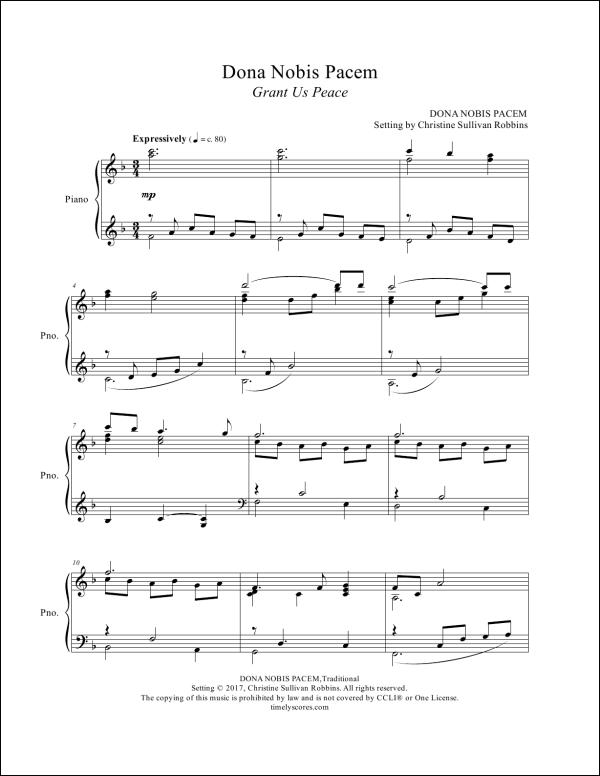 Dona Nobis Pacem Piano Sheet Music