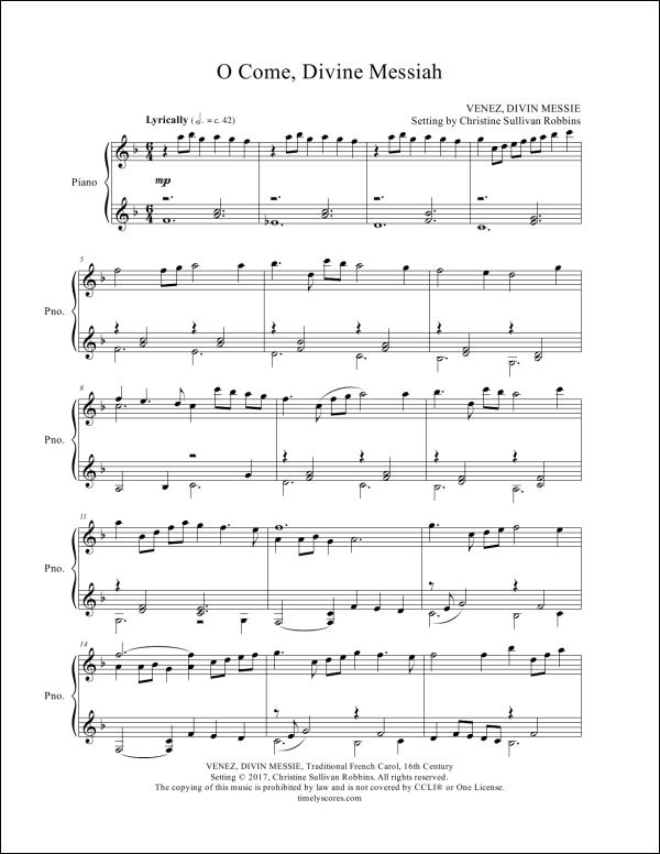 O Come Divine Messiah Piano Sheet Music