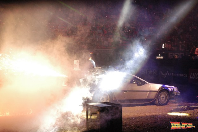 Rent the DeLorean Time Machine and your event could feature an amazing pyrotechnics as demonstrated by the Professional Bull Riders championship pyro team.