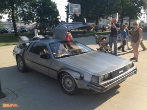 The crowds start to swell as they gather around the rented Back to the Future and enjoy the magical interior and exterior features.