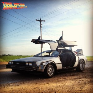 Against the Iowa landscape, the DeLorean Time Machine looks right at home!