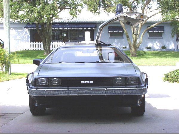 Another front shot of the DeLorean time machine rental.