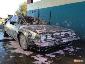 Pink bubble bath time gets the Time Machine vehicle back to its original pre-rental state of cleanliness.
