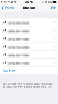 iOS 7 Blocked Caller List