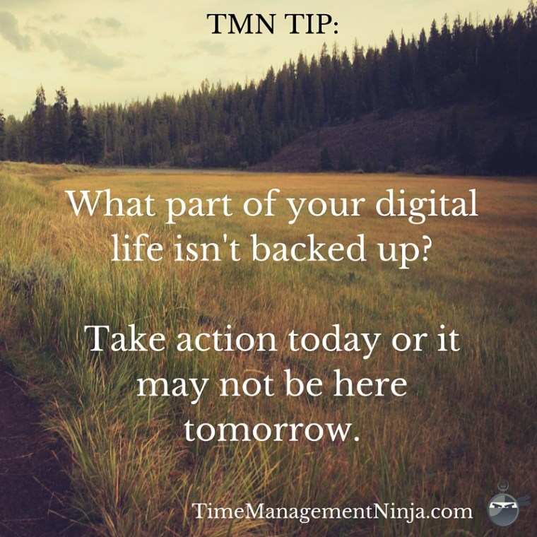 What part of your digital life isn't backed up-Take action today or it may not be here tomorrow. (1)