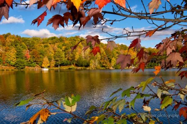 North Carolina, Brevard, Connestee Falls, autumn, foliage, Atagahi Lake, North Carolina Autumn