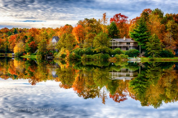 North Carolina, Brevard, Connestee Falls, autumn, foliage, reflection, North Carolina Autumn