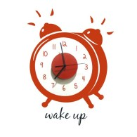 wall-clock-decal-wake-up-red