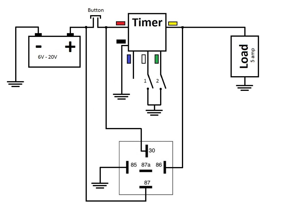 medium resolution of power is constantly supplied to the timer when the button is pushed trigger wire