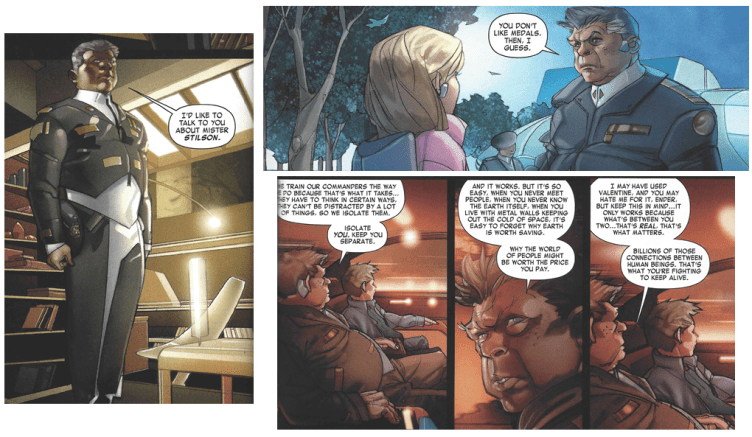 Graff as depicted at the beginning, middle,and near the end of the graphic novel adaptation of Ender's Game.