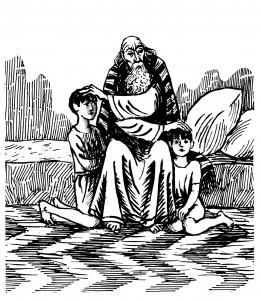 Jacob blesses Ephraim and Manasseh, hands crossed, and adopts them as sons