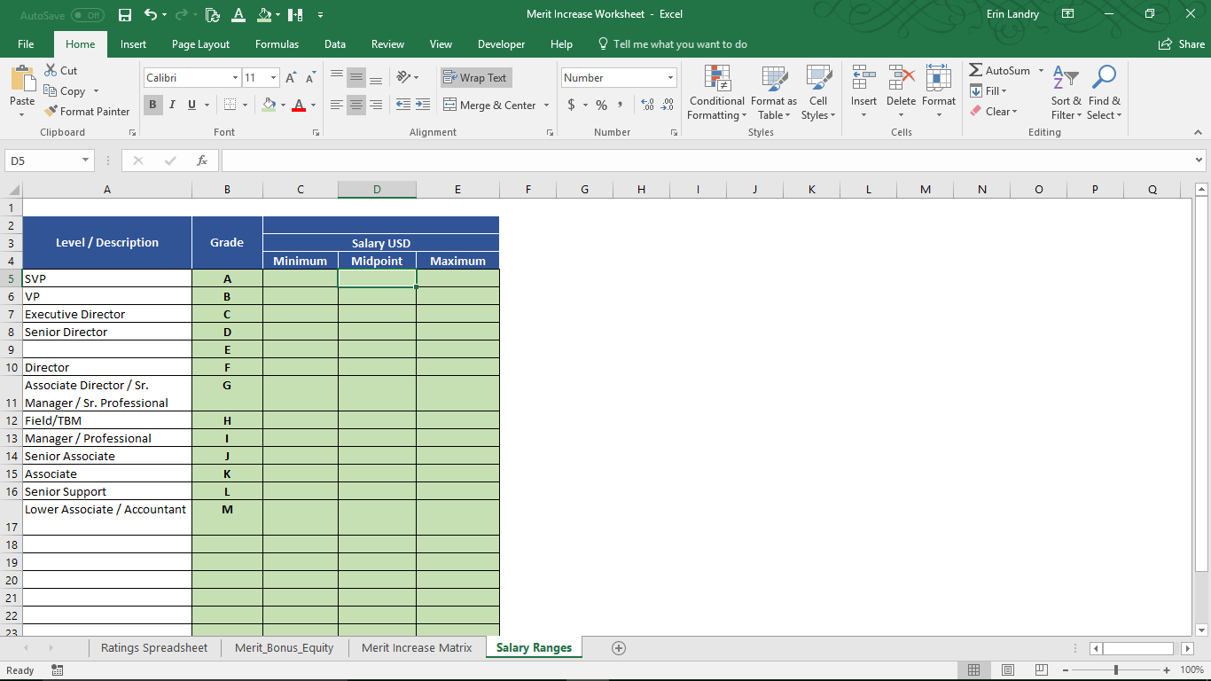 Merit Worksheet Excel Template