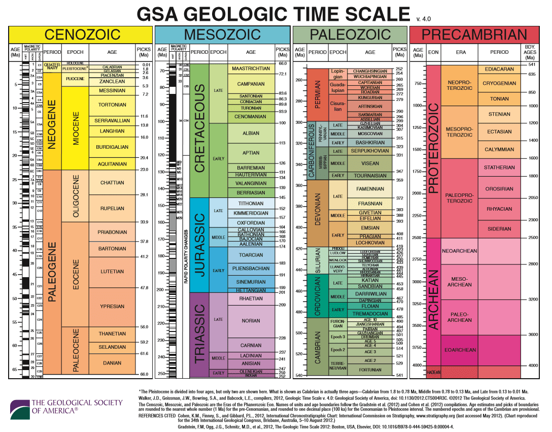 Organize and communicate major periods of the earth   past timescale presented at left shows four eras precambrian paleozoic mesozoic also geologic time scavengers rh timescavengers
