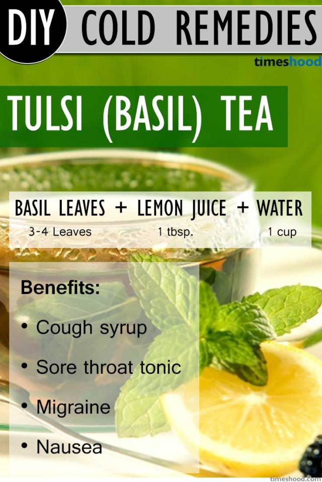 Basil Tea to get rid of common cold. DIY Basil tea recipe to get rid of common cold. Benefits of basil (tulsi) tea and how to make. Drink herbal tea to get rid of common cold.