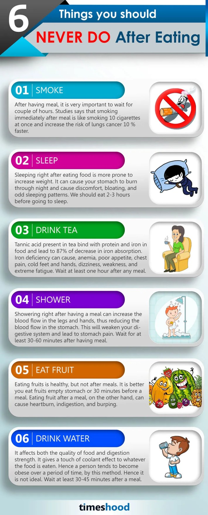 6 Things Never do after Eating Food