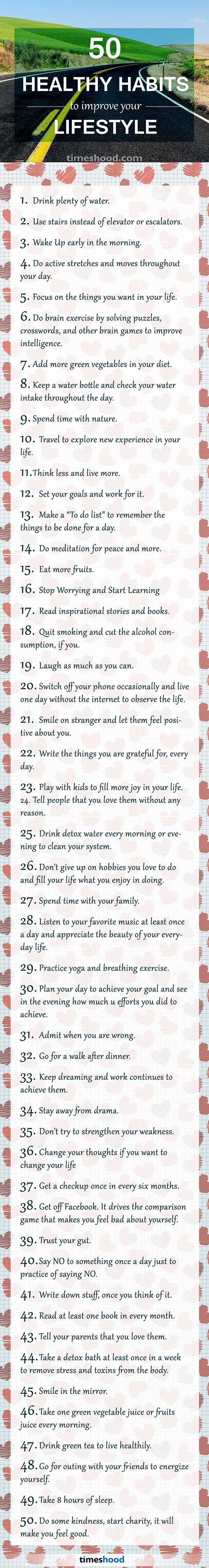 50 healthy habits to improve your lifestyle