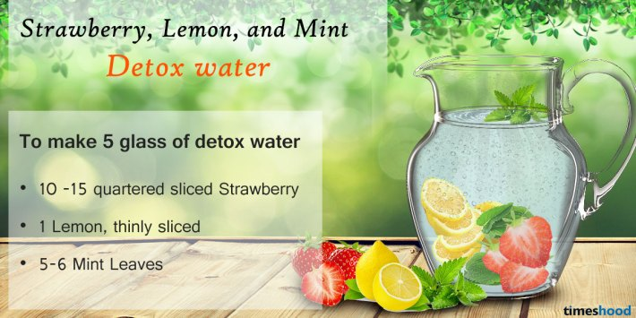 Strawberry, Lemon, and Mint Detox water. 5 DIY Best Detox Water Drink for weight loss.
