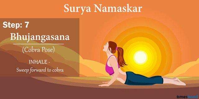 Bhujangasana (The Cobra Pose) - Surya Namaskar Step by step guide, Yoga for weight loss