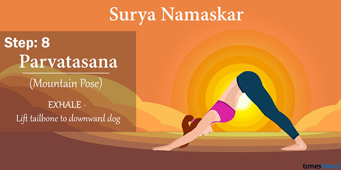 Parvatasana (The Mountain Pose) - Surya Namaskar Step 8, Yoga for beginners, Yoga for weight loss