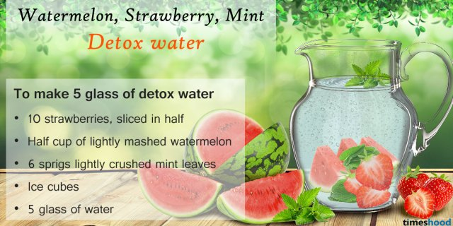 Watermelon, Strawberry and Mint Detox Water. 5 DIY Best Detox Water Drink for weight loss. Delicious Detox Water Recipes and Benefits. How to prepare Detox water at home.