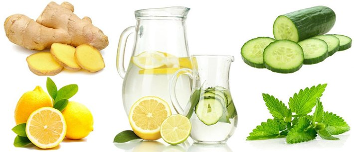 Cucumber, lemon, mint and ginger Detox water