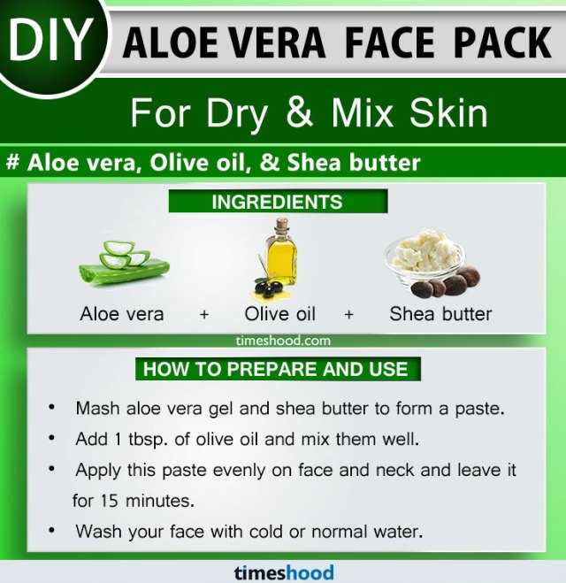 Aloe Vera Face Pack for Dry and Mix Skin. Aloe vera, Olive oil, and Shea butter face mask remedy.  15 Use of Aloe vera for skin diy remedy on Timeshood.com