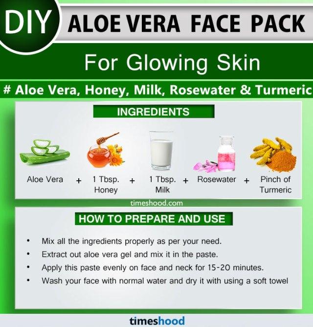 Aloe Vera Face Pack for Glowing Skin. Aloe Vera, Honey, Milk, Rosewater, and Turmeric face mask. Aloe vera face mask diy. Check out 15 Aloe vera face pack. Aloe vera uses for skin face masks.  Via Timeshood.com