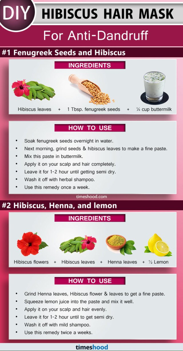 Hibiscus Hair Mask for Anti-Dandruff. How to get rid of dandruff with Fenugreek seeds and Hibiscus Hair Mask. DIY Hibiscus hair mask for hair growth. Remedy to cure Dandruff fast naturally. How to use Henna to color hair. Tips to color hair at home. DIY Remedy to prevent grey hair. | Timeshood.com