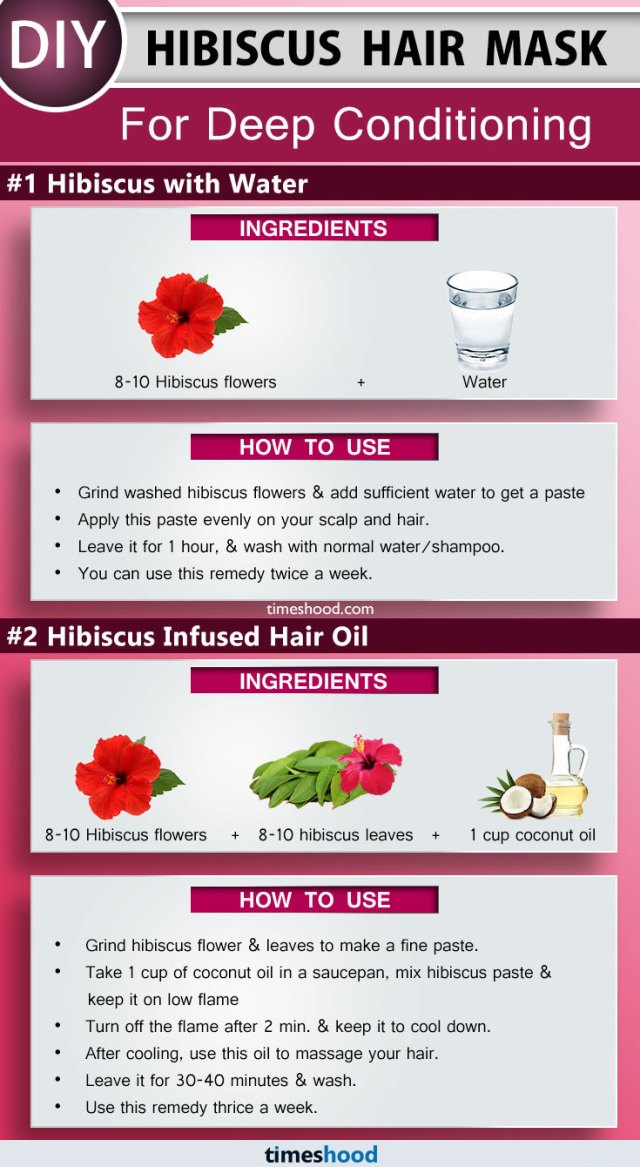 Hibiscus Hair Mask for Deep Conditioning. Hibiscus Hair Mask with water. DIY Hibiscus hair mask for soft, shiny and beautiful hair. How to use hibiscus for hair. Tips to grow hair remedy at home. DIY Remedy for dry hair. How to get soft and smooth hair | Timeshood.com