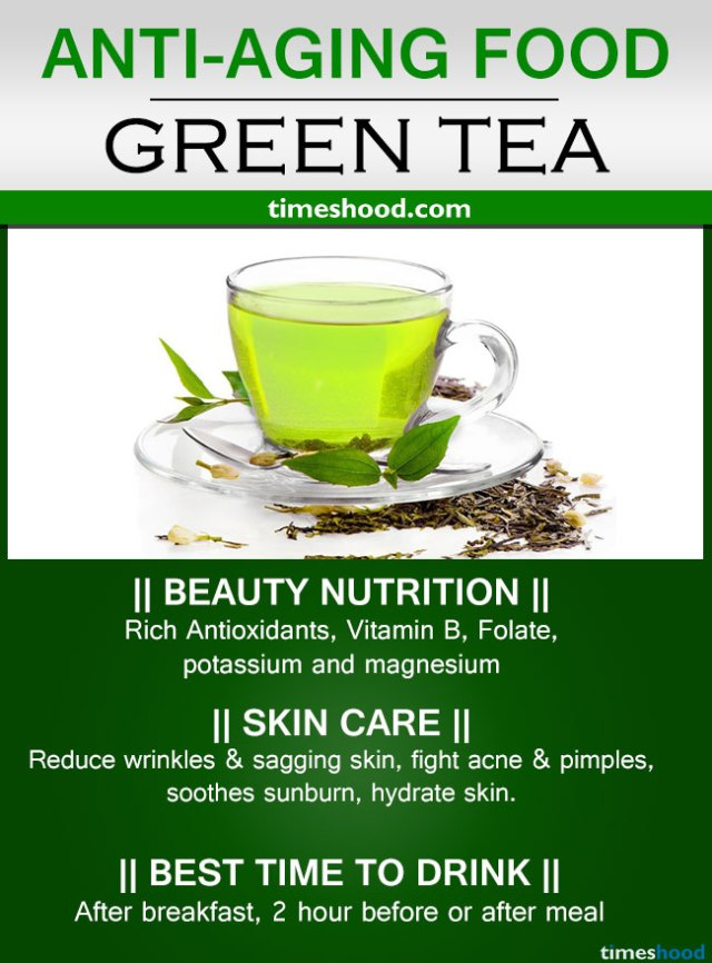 Drink Green tea for anti-aging. Best anti-aging foods for younger looking skin and glowing face. Reduce under eye wrinkles.