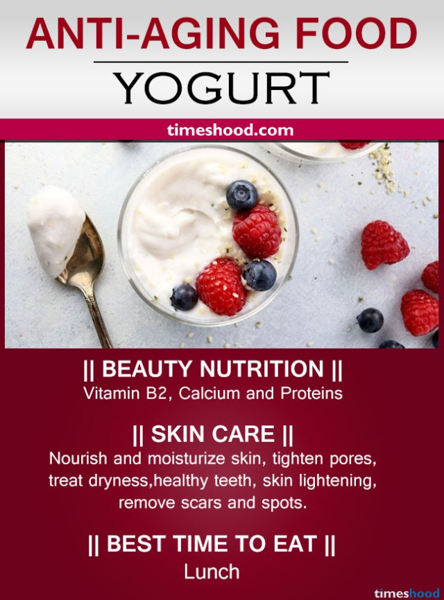 Yogurt for wrinkles free skin. Best anti-aging foods for glowing skin. Natural anti-aging diet for younger looking skin.