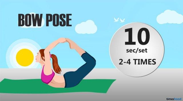 How to do bow pose yoga pose to improve flexibility. Beginner's yoga routine for flexibility and strength. Flexibility stretch for beginners.