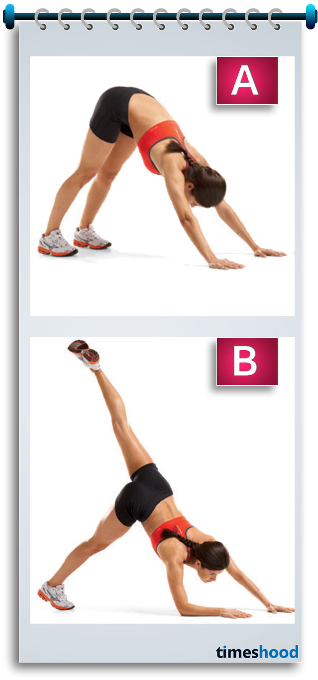 To get lifted, round, bubbly butt and sexy legs, you need to try this workout that really work within 4 weeks. Downward dog split yoga pose putt all the pressure on your butt and leg muscles and make them super sexy and hot.
