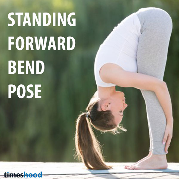 Standing forward bend is warming up pose good for beginners to improve flexibility. best yoga pose for weight loss for quick start.