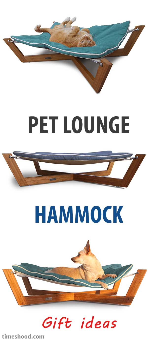 Dog lounge studios bamboo hammock. Cool gift ideas for your pet. Awesome gift for dog lover men. Best gift ideas